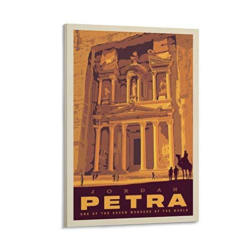 Póster vintage de la ciudad del mundo de Jordan Petra en lienzo y arte de la pared, impresión moderna de la habitación familiar carteles de 30 x 45 cm