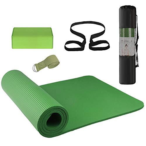 Lixada 3 Piezas Conjunto de Equipo de Yoga, Tapete de Yoga, Bloque de Yoga, Banda Elástica, Bolsa de Práctica para Principiantes de Yoga y Almohadilla de Almacenamiento