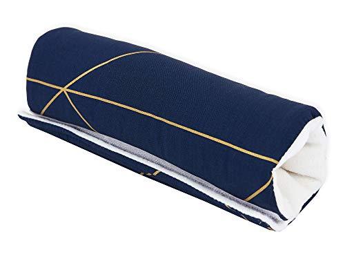 KraftKids Armschoner für Babyschale in goldene Linien auf Dunkelblau, Tragegriff mit 28 cm Länge, Armpolster für angenehmes Tragen der Babyschale