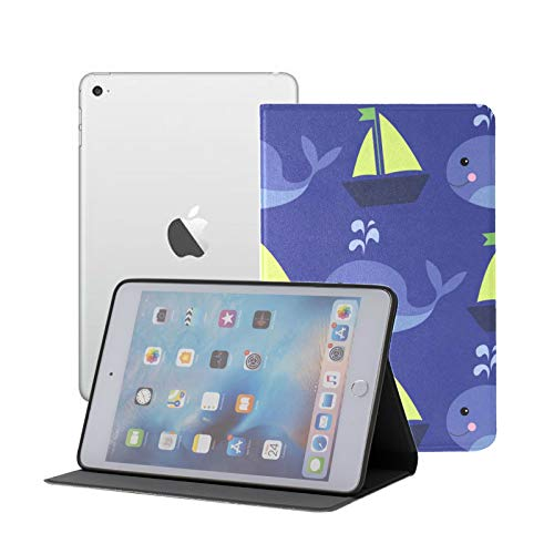 Ipad Mini Case Ocean Pattern Funny Cartoon Whales Case for Ipad Mini 3/2/1,Ultra Slim Lightweight Smart Case Cover Stand with Flexible Soft TPU Back Cover[auto Sleep/Wake]