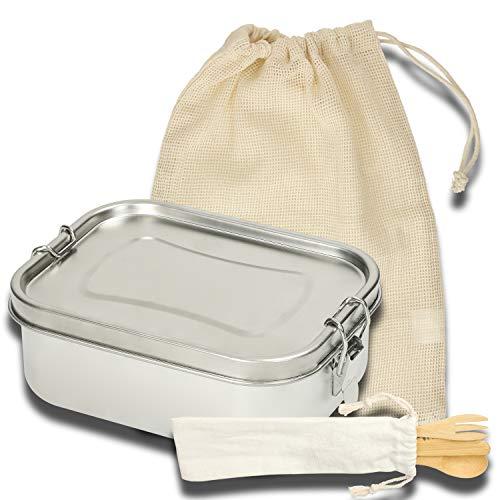 3-tlg Auslaufsichere Edelstahl Brotdose mit Trennfach Lunchbox aus Metall + Besteck aus Bambus | Brotdose für Kinder & Erwachsene | Mit Gummidichtung & Klemmbügel für sicheren Transport (1000ml-Set)