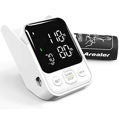 Blutdruckmessgerät Arm, Arealer Blutdruckmessgerät, Erkennung von unregelmäßigem Herzschlag und Blutdruck mit verstellbarem Armband und hintergrundbeleuchtetem LCD-Display, 2 Benutzer
