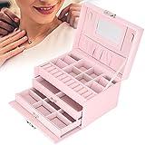 Joyero, caja de almacenamiento portátil de 3 capas de cuero PU de gran capacidad para pendientes con espejo incorporado para madre novia para uso diario(pink)