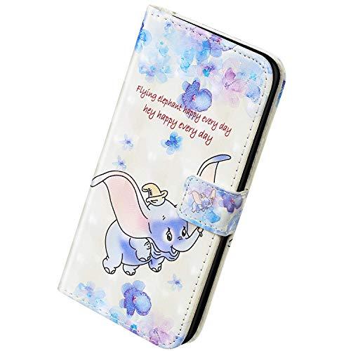 Herbests Kompatibel mit Samsung Galaxy S20 Hülle Leder Handyhülle Bunt Retro Glänzend Bling Glitzer Muster Tasche Flip Cover Case Klapphülle Schutzhülle Handytasche Leder Hülle,Elefant