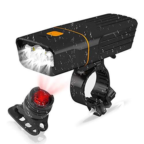 JINPXI Luz Bicicleta Recargable USB,Luces de Bicicletas Impermeable IPX5 con Delantera y Trasera,Linterna Bicicleta, Luz LED Bicicleta 2400mA, Bike Lights para Carretera y Montaña