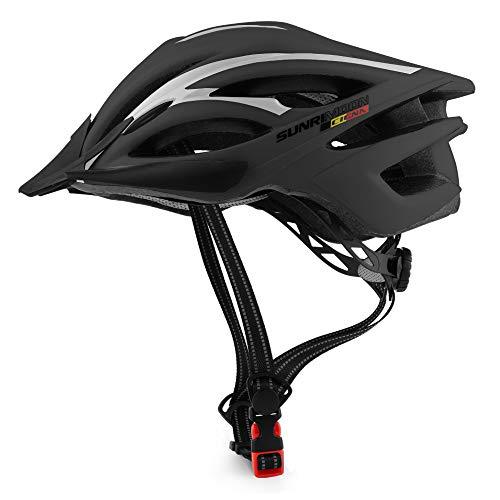 SUNRIMOON CIGNA Bike Helmet for Adults - Adjustable Size with Detachable Visor, LED Safety Light, Lightweight Design Bicycle Helmet Men Women CPSC Certified