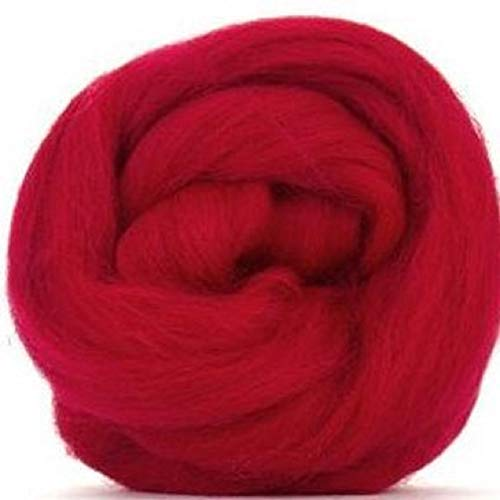 4 oz Paradise Fibers Scarlet (Red) Corriedale Top Spinning Fiber Luxuriously Soft Wool Top Roving for Spinning with Spindle or Wheel, Felting, Blending and Weaving