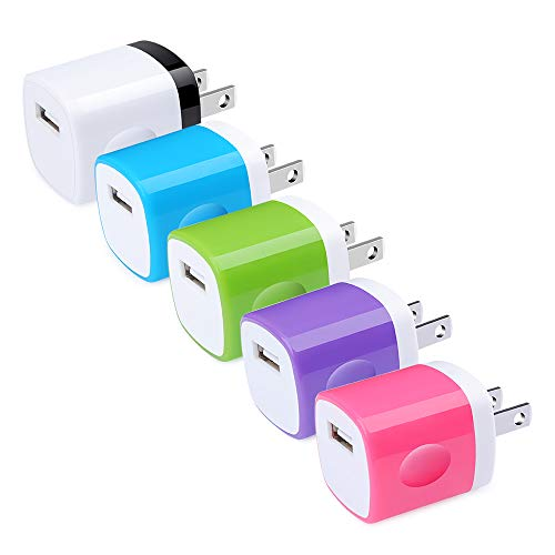 USB Wall Charger, Hootek USB Plug 5Pack 1A/5V Wall Charger Brick Adapter Charging Block Compatible with iPhone 11/11 Pro/XS MAX/XS/X/8/7/6S Plus, Samsung Galaxy S10e S9 S8 S7 S6 Note 10+ 9 8, Android