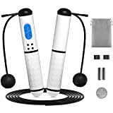 Jump Rope, Weighted Jump Rope Counter, Speed Skipping Rope for Exercise, Adjustable Jump Ropes Workout Equipment, Crossfit Jumping Rope with Calories and Alarm Reminder, Cordless Jump Rope for Adults and Kids Gym, Boxing, MMA, Training