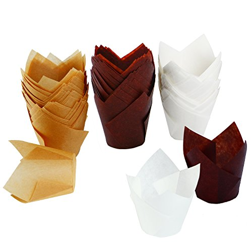 Tulip Baking Cupcake Liners, Brown, Natural and White