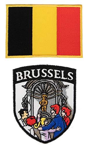 A-ONE 2 Stück – Brüssel-Landmarken-Aufnäher + belgische Flagge, bunte Stoff-Dekorationen für Kleidung durch Bügeln, Nähen oder Kleben