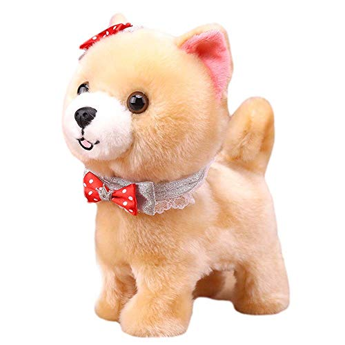 Lecez Perro de Juguete eléctrico, Puede Aprender a Hablar con la simulación de los niños Peluche electrónico Pet Cachorro Lindo Material Interactivo de protección Ambiental, marrón