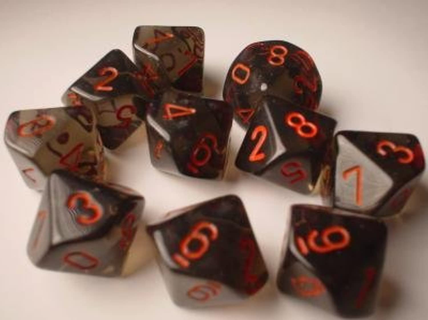 Chessex Dice Sets  Smoke with rot Translucent- Ten Sided Die d10 Set (10) by Chessex
