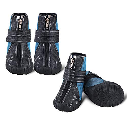 """Only Pet Dogs Boots Waterproof Hiking Shoes XXL - Non Slip All Weather Booties with Rubber Sole, Cool Waterproof Rain Boots for Sled Dog Golden Retriever Shepherd(Blue, XXL 3.7""""x2.9"""")"""