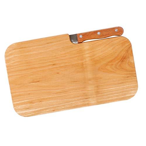 Herz & Heim® Frühstückbrettchen Set mit Messer aus Erlenholz