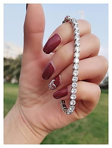 chushi Pulsera 14k Pulseras de Diamante Redondas de 4 mm de Oro para Las Mujeres Compromiso de Lujo Boda Topacio de Piedras Preciosas de Boda 18cm 8mm 18cm Pulsera de Amistad Zzib (Color : 4MM)