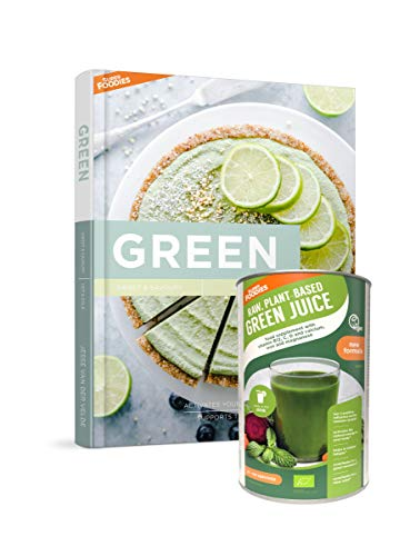 Superfoodies Extra Strength Organic Green Juice Powder + Free Book - 26+ Superfoods, Vitamin B12, C, Iron & Probiotics – Your Daily Vitamin Dose, Supports Immunity, Natural Energy & Tiredness (500G)
