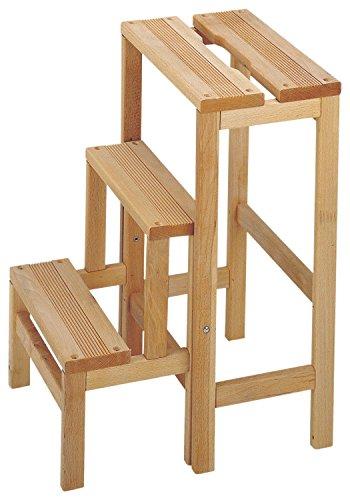 Mueblear 11300Hocker Leiter DREI Stufen Holz ohne Nagellack 36x 42x 59cm