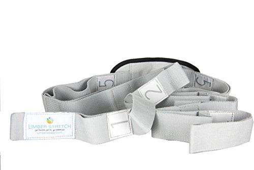 Limber Stretch Flex ibility Stretch Strap con Passanti per Allenamento e guarigione. Yoga Strap e Fitness Band. Istruzioni Poster e Stretching eBook Gratis dazu