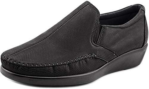 SAS Womens Dream Slip-On Leather Moccasins, Black Snake, Size 9.5