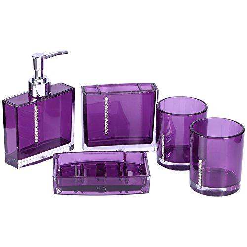 Yosoo 5-Stück Erstklassig Badezimmer Set (aus Hochwertige Acryl mit Diamanten) Bad Accessoire Set Lotion-Flaschen, Zahnbürstenhalter, Zahn-Becher, Seifenschale (Violett)
