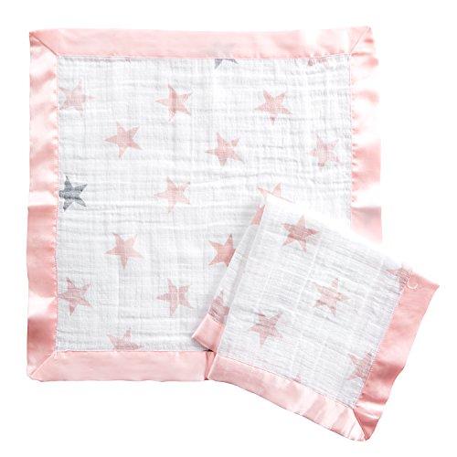 aden + anais essentials - pack de 2 couvertures-doudous en mousseline de coton - couvertures pour bébé toutes douces et respirantes - légères et naturelles - Fille - Imprimé Doll - 41 cm x 41 cm