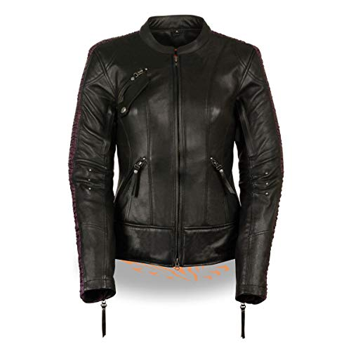 Milwaukee Leather MLL2570 Women's Phoenix Black and Purple Leather Jacket with Dual Gun Pockets - 4X-Large