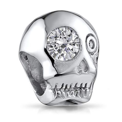 925 plata de ley Bead circonios Cráneo Calavera Element para pulsera - Beads modelo: 844#