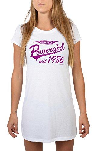 German Powergirl seit 1986 - Nachthemd/Jahrgangs-Geburtstags-Schlafshirt/Sleepshirt - schönes Geschenk