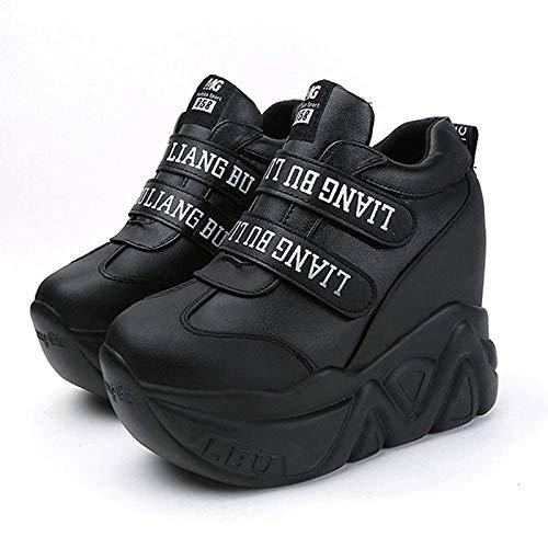 MGS Plataforma de Las Mujeres Zapatos de Estilo Casual Interior Elevación Las Zapatillas de Deporte (Color : Black, Size : 36)