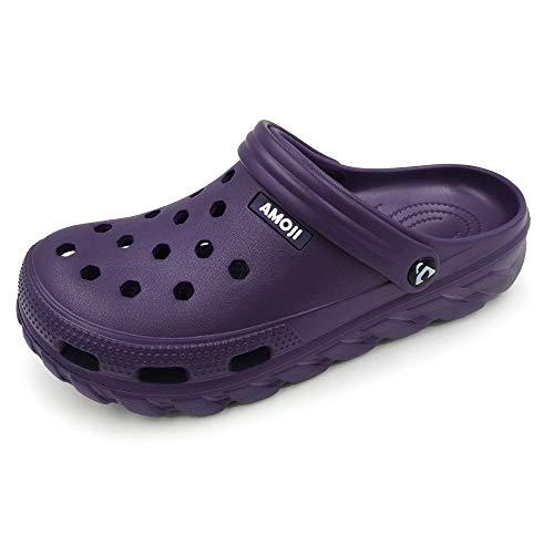 AMOJI Zuecos Zapatos de jardín Hombres Zapatillas de plástico Zapatos de jardín Mujeres Sabot Sandalias Zapatos de Ducha Verano Adultos Hombre Mujer púrpura 44 UE