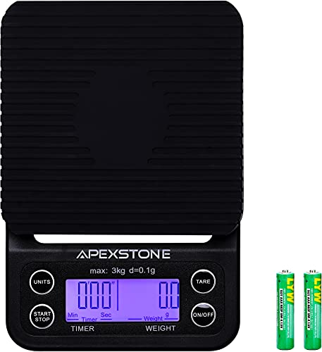 Apexstone Coffee Scale with Timer Coffee Scale with Timer Small Pour Over Coffee Scale Timer Coffee Scales with Timer Espresso Scale with Timer(Batteries Included)