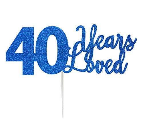 LissieLou 40 Years Loved Cake Topper Carte d'anniversaire à Paillettes 40 Ans Fabriqué au Royaume-Uni
