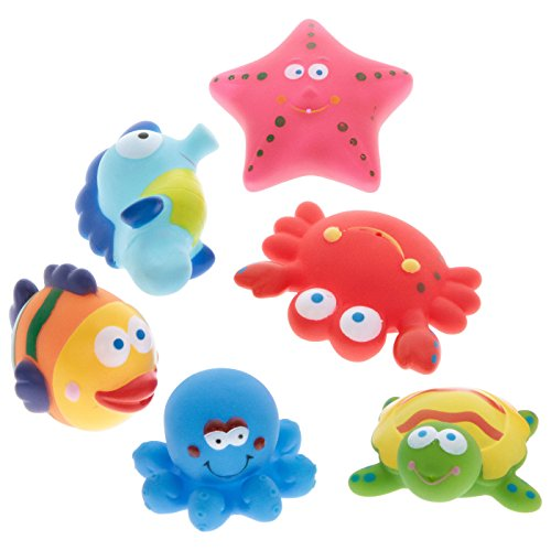 Lustige Lot de 6 animaux de bain avec fonction spray dans le réseau Hippocampe Pieuvre etc.