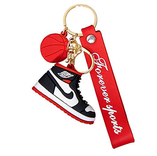 QLma Zapatillas de deporte llavero 3D zapatos llavero regalo de recuerdo, llavero colgante en forma de zapato de baloncesto accesorio de llavero colgante portátil (Cantidad 2) S Blanco / Rojo