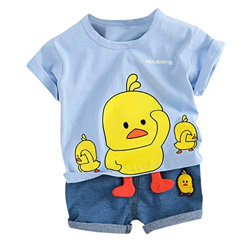 Completino Bambina Estate Vestiti per Neonati 0-3 12 18 Mesi Maschio Estivo Toddler Bambino Bambini Ragazzi Cartoon Duck Tops Pantaloni Corti Casual Outfit Set