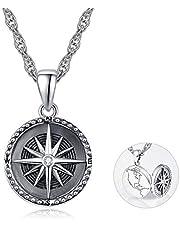 Collar de plata de ley con medallón de brújula, medallón de fotos, collar con colgante de memoria para mujeres, hombres y niñas, 45,7 cm + 5,08 cm de cadena de plata