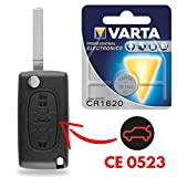 Coque de Télécommande Plip Clé 3 Boutons Peugeot 207 307 407 308 607 Partner Expert Bipper  1 Pile CR1620 VARTA - Kit iRace Keys