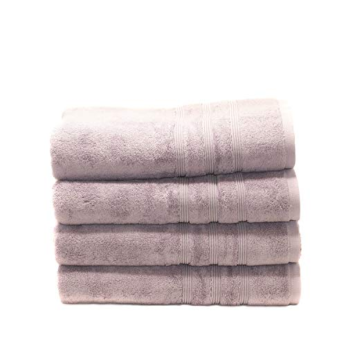 MOSOBAM 700 GSM Hotel Luxury Bamboo-Cotton, Bath Towels 30X58, Lavender Aura, Set of 4, Quick Dry, Soft Spa-like Turkish Bathroom Sets, Oversized Extra Large Body Sheet Towels, Prime Clearance, Purple
