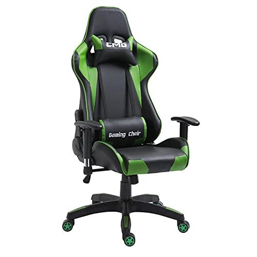 CARO-Möbel Gaming Drehstuhl in schwarz/grün Bürostuhl Racer Chefsessel Schreibtischstuhl, höhenverstellbar, Wippmechanik