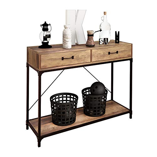 2 Drawers Console Table, Wooden Hallway Table with Storage Shelf Metal Frame Narrow Side Table for Living Room, Hallway, Bedroom