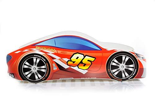 LETTO PER BAMBINI 140X70 CM 160 x 80 CM 180 X 80 CM AUTO CAR + MATERASSO CON FODERA CERTIFICATO ECO LOGO (160 x 80 cm a 8 anni, 5 Red)