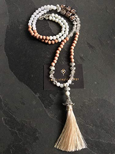 Mala, Malastyle, Malakette, Yoga, Yogaschmuck, Charms, Quastenkette, Bohemian, Gypsy, Ethno, Hippie, Perlenkette mit Anhänger, necklace