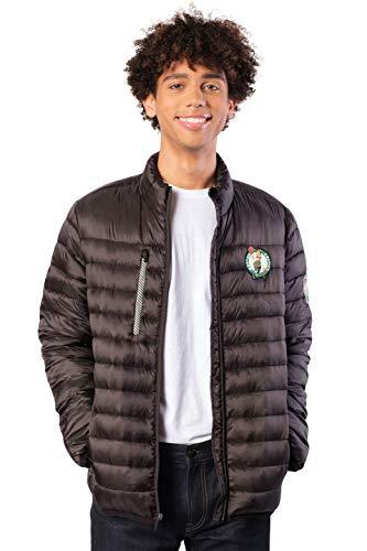 Ultra Game NBA Boston Celtics Mens Lightweight Packable Puffer Down Jacket, Black, X-Large