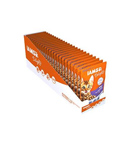 IAMS Delights Kitten Nassfutter - Multipack Katzenfutter mit Huhn in Sauce, hochwertiges Futter für Junior Kätzchen von 1-12 Monate, 24 x 85g