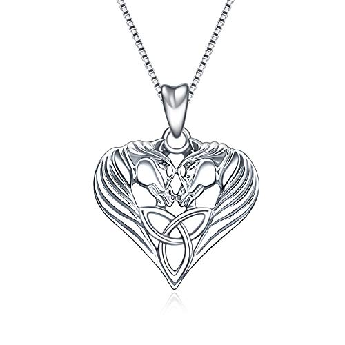 Horse Necklace Sterling Silver Celtic Knot Love Heart Horse Head Pendant Necklace Jewelry Gifts for Women Girls, 18' (Silver)