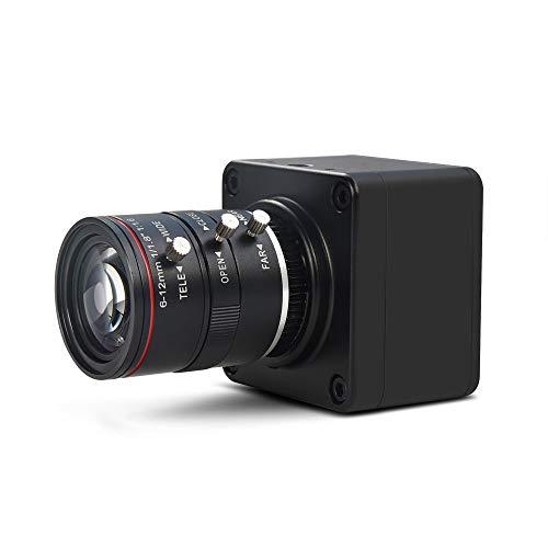 MOKOSE 4K@30fps USB Camera with 6-12mm Varifocal Manual Lens Webcam UVC Free Drive Compatible Windows Mac OS X Linux