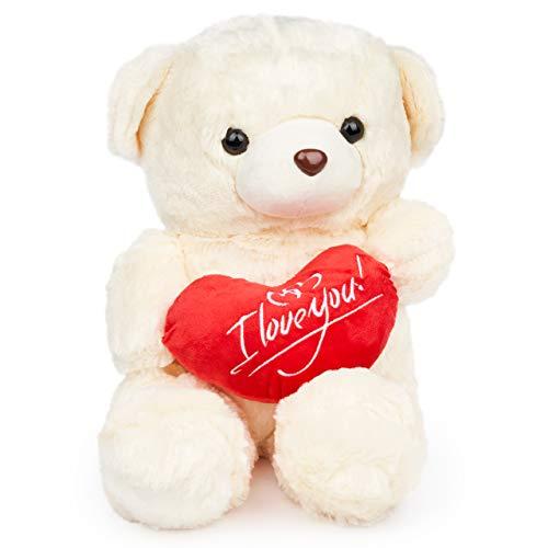 THE TWIDDLERS Weiss Teddybär Plüschbär | 45cm Groß mit I Love You Herz | riesen Teddy Bär als Geschenk Valentinstag Geburtstag Jahrestag | Kuschelweiches Stofftier für Liebsten