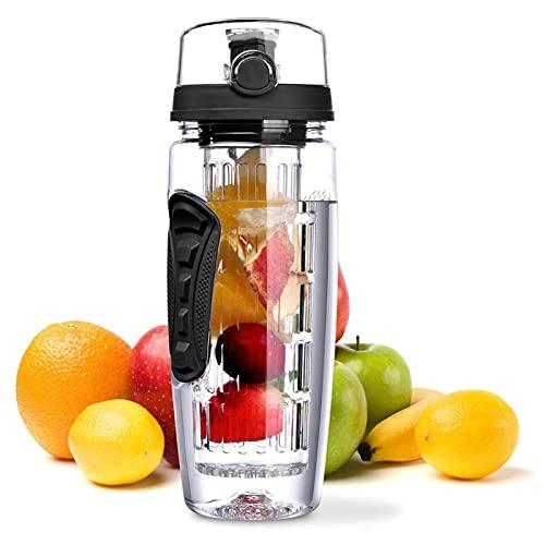 Botella de Agua del infusor de la Fruta, Botella de Agua Deportiva a Prueba de Fugas de 1L, Free BPA, Gran Capacidad para Excursionismo al Aire Libre Que acampa a la Escalada y el hogar