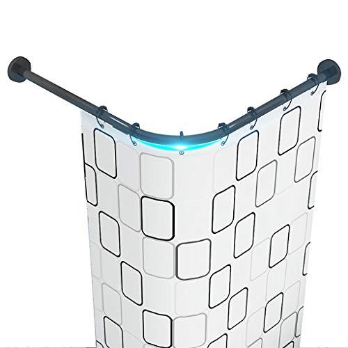 GJXJY Barra Cortina Ducha Angulo Esquina Tipo L Extensible RaíL para Cortina De Ducha Curva Sin Taladro Varilla De Cortina De Acero INOX with Impermeable Shower Curtain,para Baño 🔥